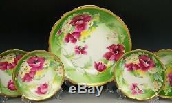 11 Pièces Limoges Peinte À La Main Green Floral Gold Ice Cream Set Dessert