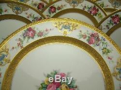 11 Superbe Limoges Peinte À La Main Roses-in-a-vase Surélevé D'or Dinner Plates Signed
