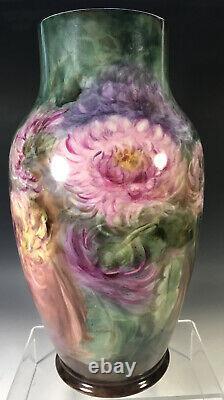 12.5 Grand Vase De Chrysanthèmes Peints À La Main