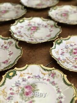 12 Assiettes En Or Lourd Orné De Roses Lourdes Peintes À La Main, Limoges, Limoges