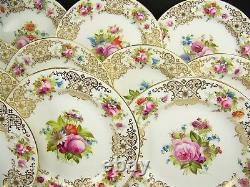 12 Cauldon Angleterre Roses Peintes À La Main Fleurs Assiettes De Dîner 2119 Artiste Harrison