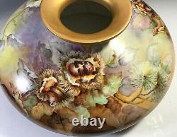 13 Limoges Squat Vase Châtaignes Peintes À La Main