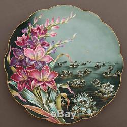 14 Assiette En Porcelaine Peinte À La Main Limoges Française Chargeur Fleurs De Lotus D'or Garniture