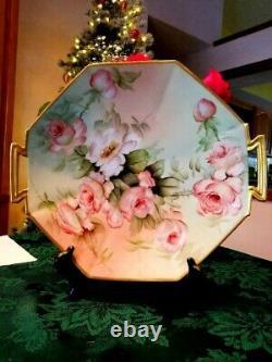 14 Limoges Hand Painted Rose Charger, Artiste Signé, Ester Miler
