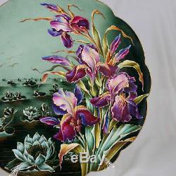 14 Porcelaine Peinte À La Main Française Limoges Charger Plate Iris Fleur De Lotus