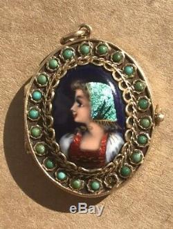 14k Vintage Français Peint À La Main Double Médaillon Limoges Turquoise Email