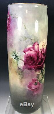 15.5belleek Antiquités Roses Vase Peint À La Main