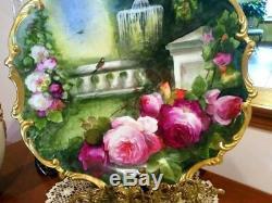 16 Assiette De Plaque De Chargeur Rose Peinte À La Main De Limoges, Signé Par L'artiste