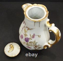 1870's Antique Haviland Limoges Porcelaine Peinte À La Main Cafetière Thé Chocolate Pot