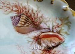 1890 Antique De Lanternier Porcelaine Limoges Seashell Peint À La Main 18,5 Platter