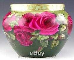 1897 Antiquités D & C Limoges France Handpainted Roses & Or Jardiniere Vase Planter