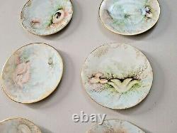 1898 Rare T&v Limoges Plaque Peinte À La Main Seashell Sea Floor Ensemble De 13 Pcs