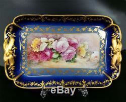 18,5 / 47cm Limoges France Cobalt Porcelaine Bleue Plateau Rose Peint À La Main / 1888 Plat