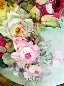 18 Magnifique Limoges Peinte À La Main Plaque Chargeur Rose, Illustrateurs