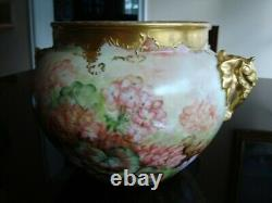 1901 Limoges J. P. L. Peint À La Main Jardiniere Vase Planter Floral Large 12po