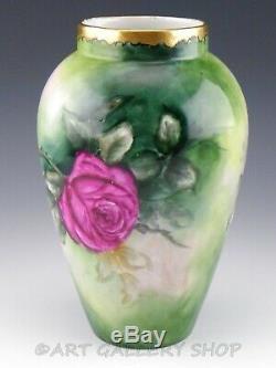 1909 Antiquité D & C Limoges France Roses Handpainted Fleurs 9 Vase Artiste Signé