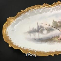 19c Antique. Coiffe Limoges Poisson Platter 24 Peint À La Main