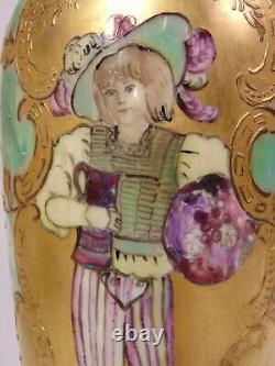 19ème Jean Pouyat Peint À La Main Français Limoges Bead Portrait Scenic Vase Maiden