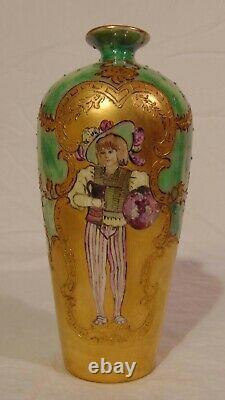 19ème Jean Pouyat Peint À La Main Français Limoges Beaded Portrait Vase Maiden Gilded