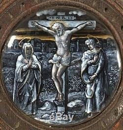 19ème Siècle Miniature Peinte À La Main En Émail Sur Le Carreau Jésus-christ Sur La Croix Limoges