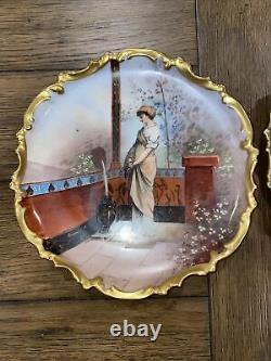 2 Plates Limoges Porcelaine Antique Porcelaine France Graine Avec Fleurs