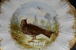 (4) M Redon Mr Limoges Relief Game Game Birds & Gold 8 Assiettes En Relief Moulées