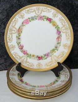 (5) Arhenfeldt Porcelaine De Limoges Peinte À La Main Salade Raised Doré Plaques
