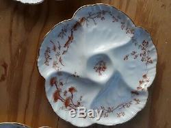 5 Chf Antique Gdm Haviland Limoges Peintes À La Main En Porcelaine Oyster Plaques France