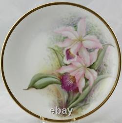 6 Antiquaires Raynaud & Co. Limoges Plaques D'orchidées Peintes À La Main 8-1 / 2 Artiste Signée