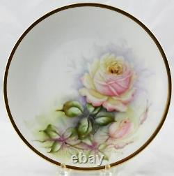 6 Antique Raynaud & Co. Limoges Plaques D'armoires Roses Peintes À La Main 8-1/2 France