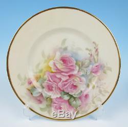 6 Assiettes De Service / Assiette De Service Peintes À La Main De 6 Artistes En Porcelaine Rose Et Or Jaune