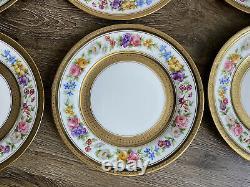 6 C Ahrenfeldt Plaques De Dessert Florales Ovington Bros Limoges Peint À La Main Gilt #1