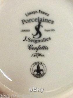6 J. Seignolles Confetti Main Lavande Peint Avec Argent Dots Tasse De Thé Et Soucoupe