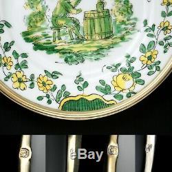 6 Painted Antique Limoges Français Main En Porcelaine Plaques Set Jantes En Argent Sterling