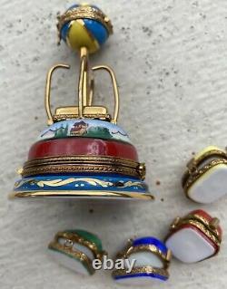 6 Peint Main Limoges Boxes Swing Chair Carnival Ride Moves W4 Voitures Séparées