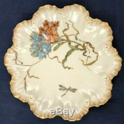 8 Antique Limoges A. Lanternier Plaques Peint À La Main Fleurs Et Incrustées D'or