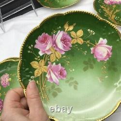 8 Vintage Hand Painted Ak France Limoges Flowers Lot Set Armoire Plaques