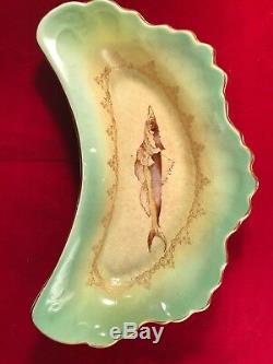 9 Antiquité Limoges Chine Croissant Os Plats Peint À La Main Des Poissons Dessine Des Garnitures En Or