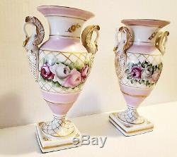 9 Porcelaine De Limoges Urne Vase Lampe Peinte À La Main Rose Roses Swan Poignées Or Tri