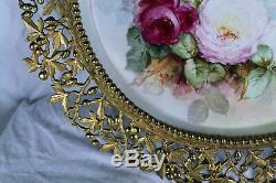 À Couper Le Souffle Rare 18 1/2 T & V En Porcelaine De Limoges Avec Des Roses Peintes À La Main