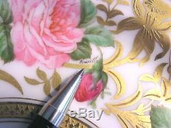Ahrenfeldt Limoges Roses Peint À La Main Orchidées Plaque Panier D'or Incrustées Signé