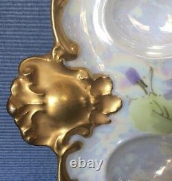 Ak Limoges France Deviled Egg Serving Tray Peint À La Main Début Des Années 1900 Heavy Gold