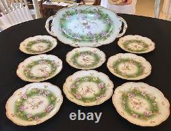 Ak Limoges France Et Peint À La Main Gilt Dessert Set (9 Pc) C. 1900-1910