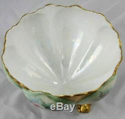 Ancien Bol Français Centré En Porcelaine De Limoges Peint À La Main, France 9 X 5,5