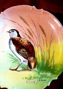 Ancien Jeu De Limoges De 6 Jeux De Plaque D'oiseau 10 Artiste Peint À La Main Signé