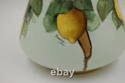 Ancien Limoges Peintre Pitcher Peint À La Main Vase