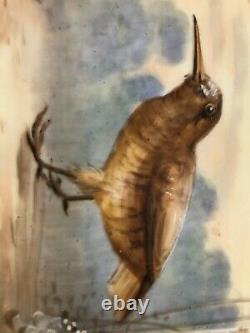 Ancien Plateau De Limoges Peint À La Main Et 6 Assiettes, Game Bird Motif