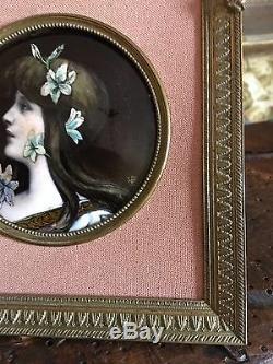 Ancien Portrait Peint À La Main Signé Art Nouveau Limoges