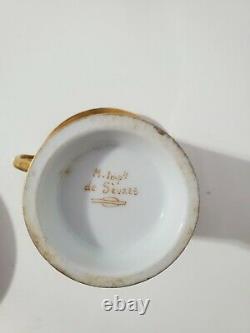 Ancien Style Sevres Porcelaine Française Peinte À La Main Coupe Napoléonienne & Saucer