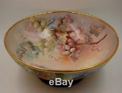 Ancien Vase En Forme De Bol À Punch Peint À La Main Aux Raisins De Limoges